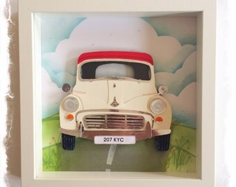 Morris Minor Convertible in cream & red / Morris Minor Collage / 3D papercut Picture - Small Shadow box frame