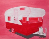 Acrylic Painting, Camper, Original, Red and Pink Wall Art, Small Wall Art, 12x12, The Get Away