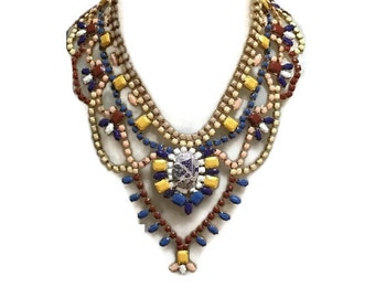 JUST..... FUNKY hand painted rhinestone super statement necklace