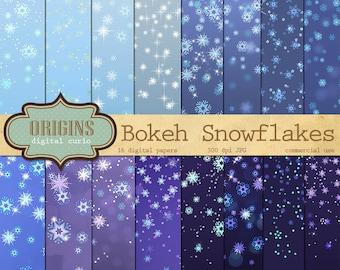 Snowflake Digital Paper - Bokeh Winter Scrapbook Paper Pack, Confetti Bokeh Backgrounds, Frozen Christmas sparkle printable paper