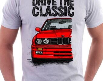 Clasic Retro BMW E30 M3 T- shirt White. Original hand drawn design.