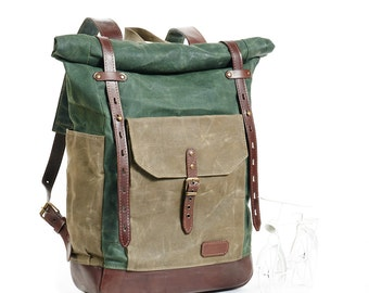 Green waxed canvas backpack. Waxed canvas leather backpack.  Waxed canvas rucksack. Hipster backpack. Canvas travel bag