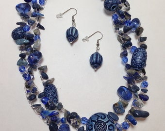 Denim Blue, Blue Quartzite, Lapis, Wood, Semi Precious, Glass, Non-Tarnish Silver Plated Wire, Wire Crochet, Necklace, Earrings (B925)