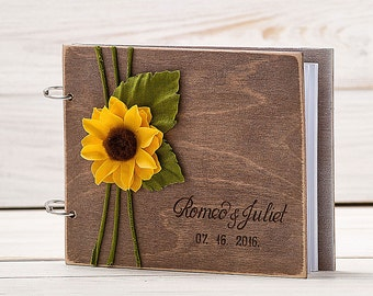 Wedding Guest Book Sunflower Wedding Guest Book Wooden Personalized Guest Book Wooden Guestbook Rustic Guestbook Wedding Present