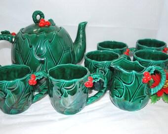 Lefton Tea Set , Red Holy Berries , Christmas Gift