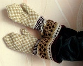Hand knitted  wool mittens with large cuff  Wool mittens Knit wool gloves Winter mittens Patterned mittens mittens with ornament  Latvian