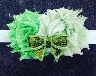 Green flower and bow headband