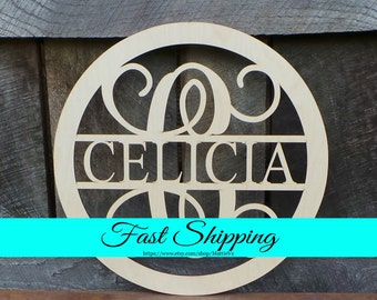 "Wooden Monogram - 20"" Wood Monogram - Monogram Door Hanger - Family Monogram Wreath - Housewarming Gift - Wedding Gift - Personalized Gift"