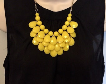 Sunshine Yellow Bubble Bib Beaded Chandelier Statement Necklace with Matching Earrings