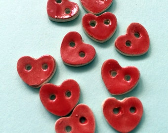 Small ceramic heart buttons