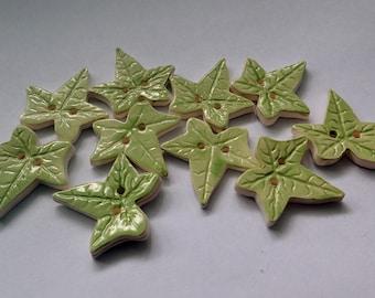 Ivy Leaf porcelain buttons