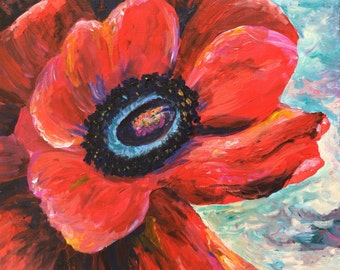 Poppy art print from original canvas poppy painting