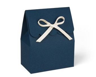 Navy Blue Favor Boxes with Ivory Ribbon // Set of 8