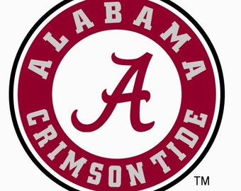University of Alabama window decal  Roll Tide Bama sticker script A crimson tide