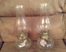 Hurricane Oil Lamps with bubble-beaded glass base
