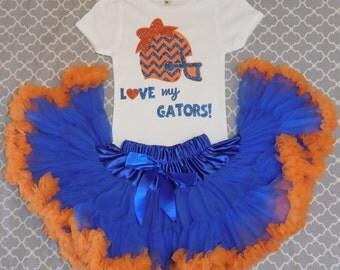 UF Girl Gator Outfit,  Florida Gators Girl Shirt, Orange and Blue Outfit, Gator Pettiskirt Outfit,UF Clothing,FLORIDA Clothes,Go Gators