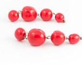 Fun vintage dark red plastic beaded dangle drop earrings - c. 1970s 1980s does 1950s lightweight shoulder duster earrings for pierced ears