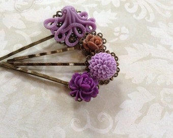 Grape Octo And Chocolate Rose Hair Clips