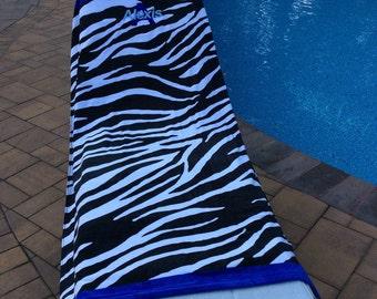 Large Oversized Beach Towel - Zebra Print - Monogrammed - Personalized Beach Towel