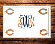 Custom Made Chicago Bears NFL Monogrammed Note Cards and Envelopes