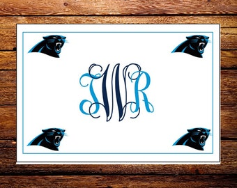 Custom Made Carolina Panthers NFL Monogrammed Note Cards and Envelopes