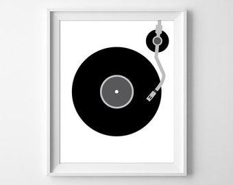 Vinyl Record Print, Minimal Wall Art, Record Wall Art, Turntable Print, Music Print, Music Lover Gift, Retro Record Player, Instant Download