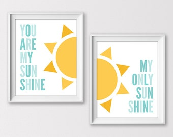 You Are My Sunshine Art Print, Baby Shower Gift You Are My Sunshine Nursery Wall Art, Kids Room Art, Set of 2 8x10s, Instant Download