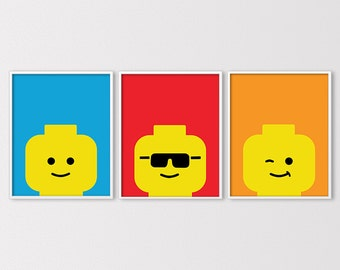 Lego Art, Lego Prints, Lego Decor, Custom Lego Wall Art, Lego Birthday Printables, Minimal Lego Faces, Lego Nursery Art, Digital Download