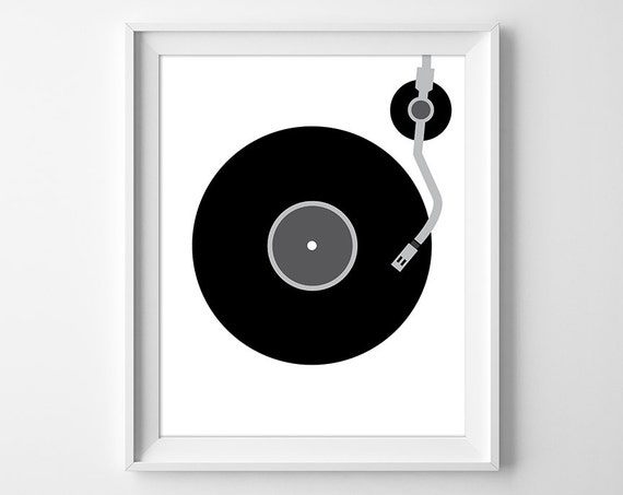 Vinyl record print minimal wall art record wall art for Minimal art wall