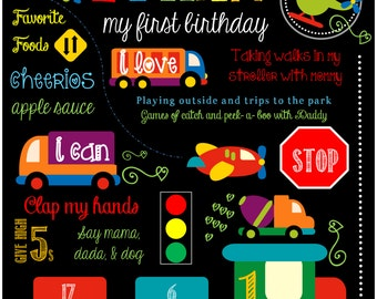 Transportation Theme Birthday Party Chalkboard Sign 11x14""