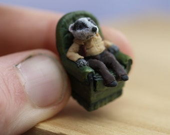 1/48th Mr Badger, OOAK sculpt from polymer clay one quarter scale.