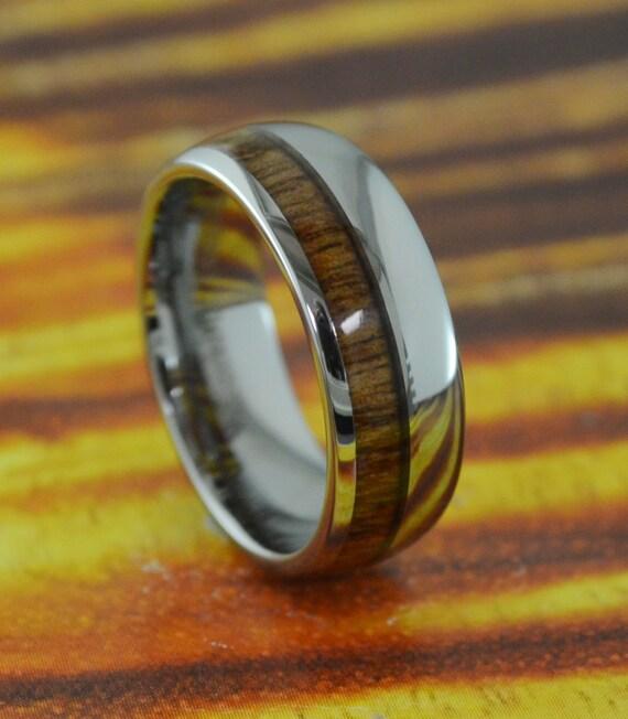 tungsten carbide ring with hawaiian koa wood by