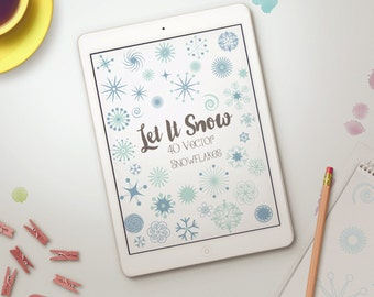 Vector Snowflakes - Snowflake Clip Art - Snow Vectors - Snow Clipart - Digital Snowflakes, Snowflake Graphics - Snowflake Art