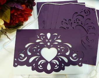 Purple Heart Wedding Invitation Folders/ DIY Wedding/ Wedding Folders/ Invitation Folders/ Elegant Weddings/ Invitations