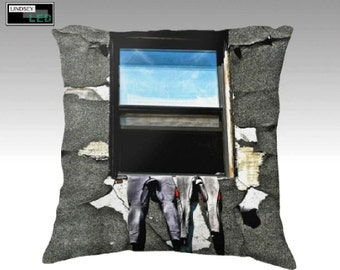 "Wetsuits in Window Square Pillowcase (Sizes: 18"" × 18"", 22"" × 22"")"