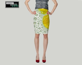 Yellow Bubbles Pencil Skirt