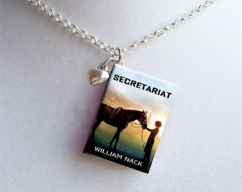 Secretariat with Tiny Heart Charm - Miniature Book Necklace