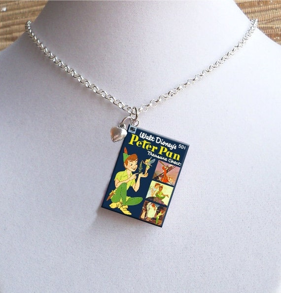 Peter Pan with Tiny Heart Charm - Miniature Book Necklace