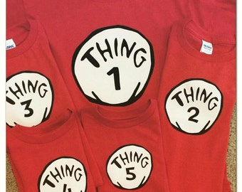 Custom / Personalized Dr. Seuss Thing 1 Thing 2 Costume Shirt