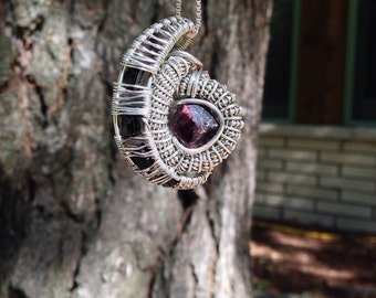 Garnet & Black Tourmaline Wire Wrap