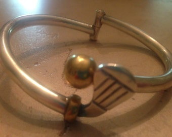 Vintage Taxco Bracelet Sterling Silver Cuff Mexico Brass/Gold TR-77 TH-77 28 grams