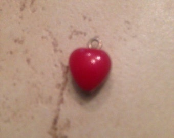 Vintage Sterling Silver Heart Pendant Charm Red Inlay Jewelry