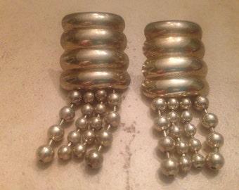 Vintage Silver Earrings Dangle Beads Tassel Costume Jewelry