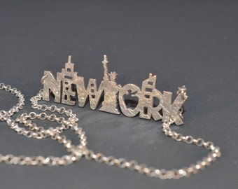 New York Skyline Statement Necklace Sterling Silver 925 City Necklace US Jewelry NY Woman Statement Necklace Jewelry Statue of Liberty