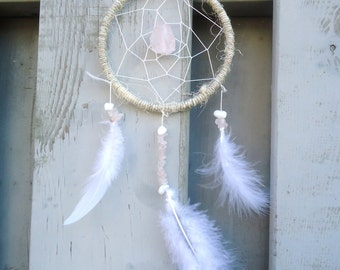 Rose Quartz Dream Catcher - Pink Dreamcatcher - Love Stone - Handmade Ornaments - Gifts