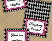 Electric Pink, Black, Silver, Diamond Pattern / Place Cards, Blank Tent Cards, INSTANT DOWNLOAD Printable PDF  / Barbie, Monster High