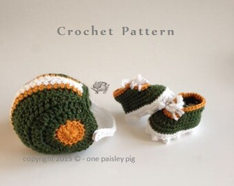 Baby's First Football Helmet & Cleats Set / Photo Prop  / PDF CROCHET PATTERN in 3 sizes!