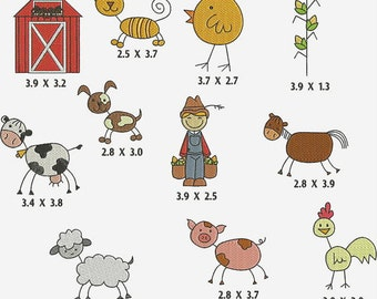 INSTANT Download Machine Embroidery Designs Stick  Figures Farm 11 Files PES Format Barn Cow Pig Chicken Farmer  Dog Cat Horse EXCLUSIVE