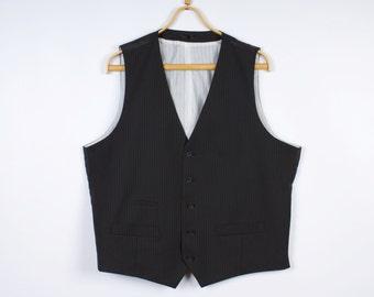 Black Striped Mens Vest Business Suit Formal Waistcoat White Lining