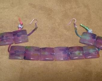 Multi-Color Square Bead Bracelet and Earring set